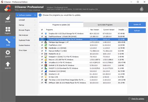 How good is CCleaner Professional's new Software Updater