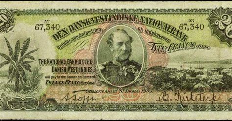 Danish West Indies 20 Francs in Gold note 1905|World