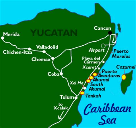Map of Cozumel, Mexico, including beaches, dive sites