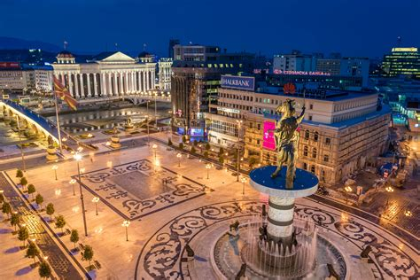 Skopje Square Macedonia Center Of The City Monument And