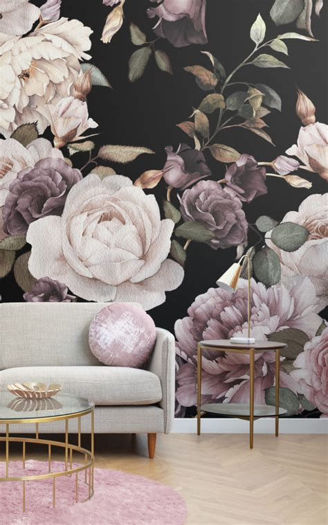 Create a striking space with dark floral wallpaper