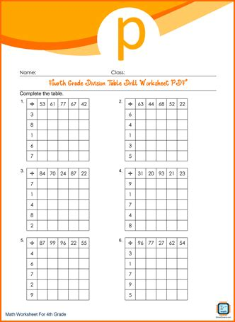 Grade 4 Division Table Drill PDF Printable For Free