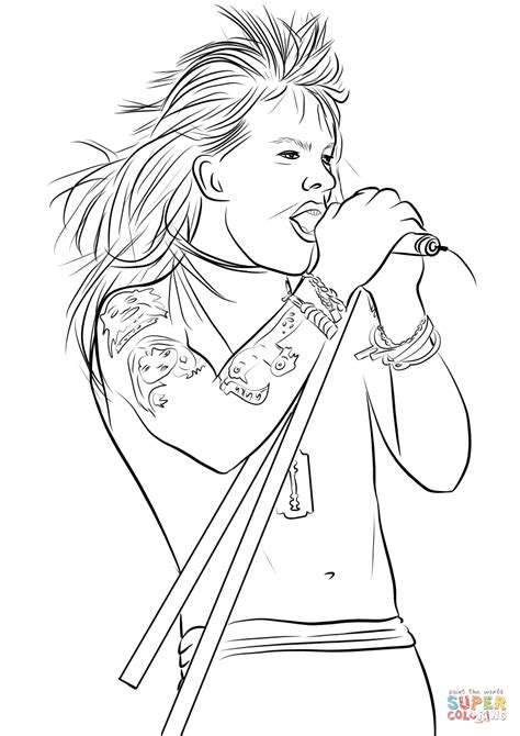 Axl Rose from Guns N' Roses coloring page | Free Printable