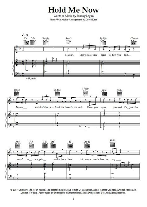 Hold Me Now Sheet Music - Johnny Logan - Download & Print